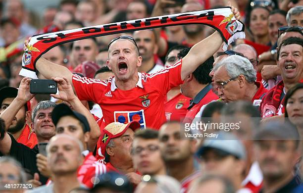 Benfica fan shouts from the stands during the 2015 International Champions Cup match against Paris SaintGermain at BMO Field on July 18 2015 in...