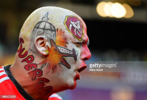 Benfica fan wears face paint depicting the Superga air disaster during the UEFA Europa League Final match between Sevilla FC and SL Benfica at...