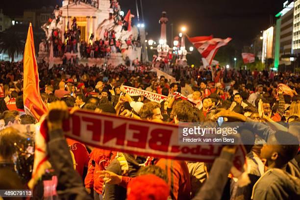 Benfica Fans Celebrating Portuguese Championship win. Marques de Pombal - Lisbon, Portugal.