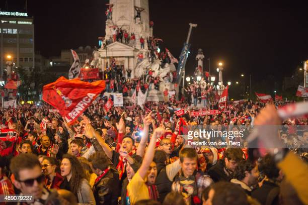 Benfica Fans Celebrating Portuguese football Championship win. Marques de Pombal - Lisbon, Portugal.