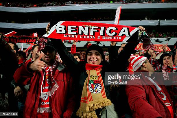 Benfica fans prior to the UEFA Champions League group D match between Benfica and Manchester United on December 7 2005 at the Stadium of Light in...