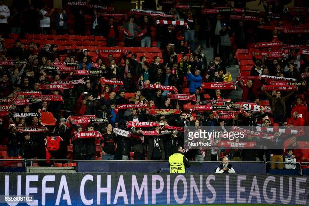 Benfica fans waving their charts during the Champions League football match between SL Benfica and Borussia Dortmund at Luz Stadium in Lisbon on...