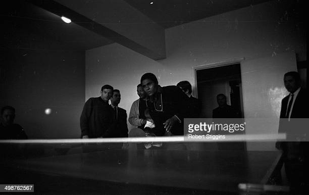 Benfica Football Club players relaxing with a game of table tennis prior to their European Cup final match against Manchester United Harlow May 26th...