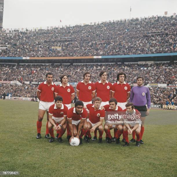 Benfica Football Club squad players posed together prior to a match at the Estadio da Luz stadium in Lisbon Portugal in 1972 The team are back row...