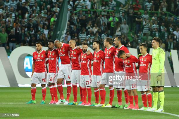 Benfica football players lineup for a minute of silence in memory of dead supporters of Sportings during Premier League 2016/17 match between...