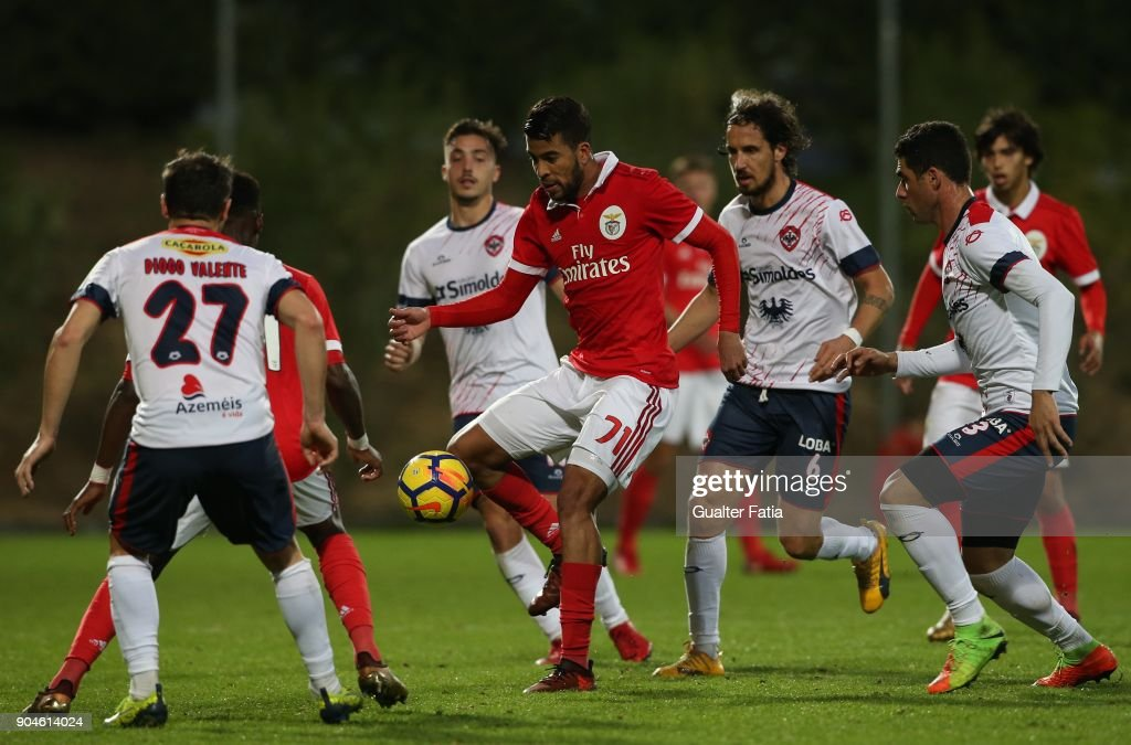 SL Benfica forward Alan Junior from Brazil in action during the Segunda Liga match between SL Benfica B and UD Oliveirense at Caixa Futebol Campus on January 13, 2018 in Seixal, Portugal.