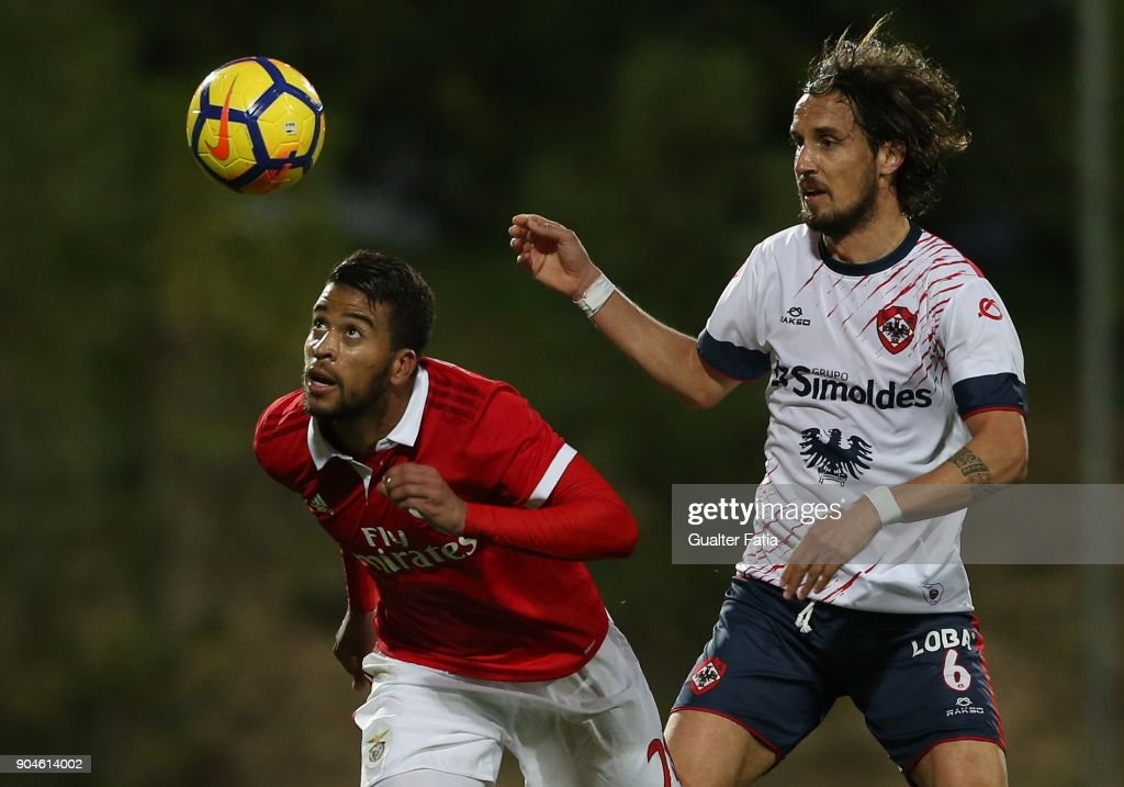SL Benfica forward Alan Junior from Brazil with UD Oliveirense midfielder Filipe Goncalves from Portugal in action during the Segunda Liga match between SL Benfica B and UD Oliveirense at Caixa Futebol Campus on January 13, 2018 in Seixal, Portugal.