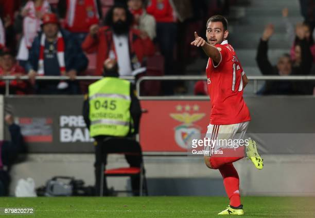 Benfica forward Andrija Zivkovic from Serbia celebrates after scoring a goal during the Primeira Liga match between SL Benfica and Vitoria Setubal at...