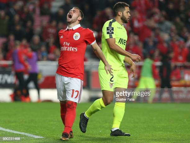 Benfica forward Andrija Zivkovic from Serbia reaction after missing a goal opportunity during the Primeira Liga match between SL Benfica and CD Aves...