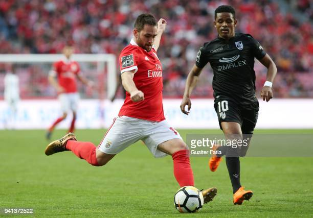Benfica forward Andrija Zivkovic from Serbia with Vitoria Guimaraes forward Heldon from Cape Verde in action during the Primeira Liga match between...