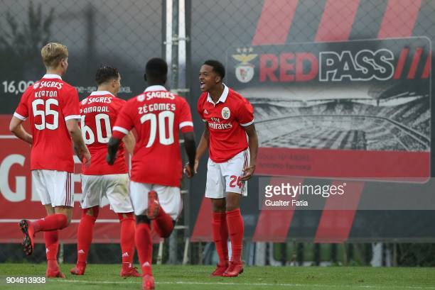 Benfica forward Chris Willock from England celebrates with teammates after scoring a goal during the Segunda Liga match between SL Benfica B and UD...