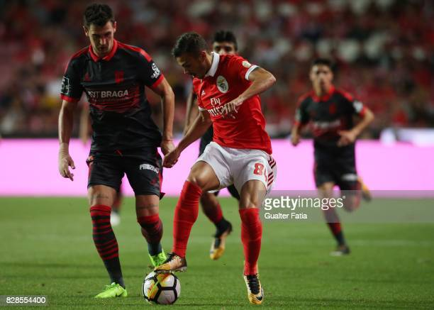 Benfica forward Diogo Goncalves from Portugal with SC Braga defender Lazar Rosic from Serbia in action during the Primeira Liga match between SL...