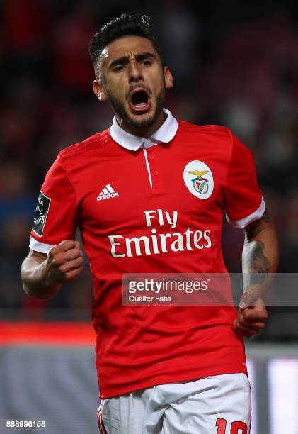 Benfica forward Eduardo Salvio from Argentina celebrates after scoring a goal during the Primeira Liga match between SL Benfica and GD Estoril Praia...
