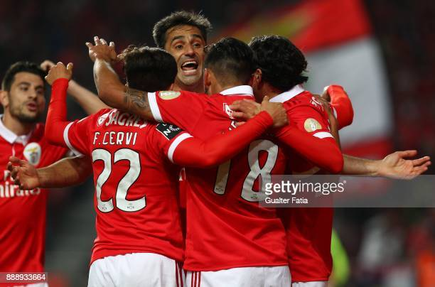 Benfica forward Eduardo Salvio from Argentina celebrates with teammates after scoring a goal during the Primeira Liga match between SL Benfica and GD...