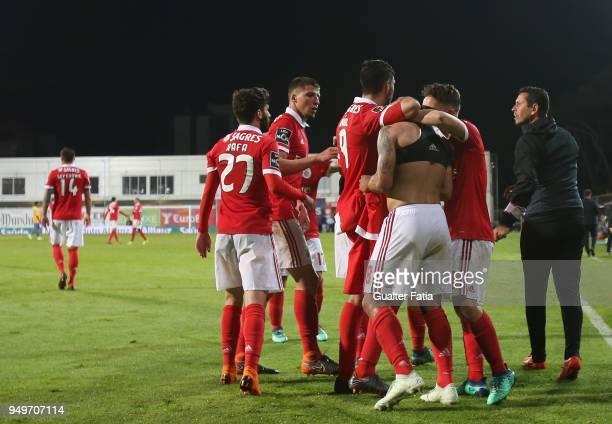 Benfica forward Eduardo Salvio from Argentina celebrates with teammates after scoring a goal during the Primeira Liga match between GD Estoril Praia...