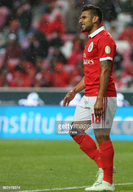Benfica forward Eduardo Salvio from Argentina reaction after missing a goal opportunity during the Primeira Liga match between SL Benfica and CD...
