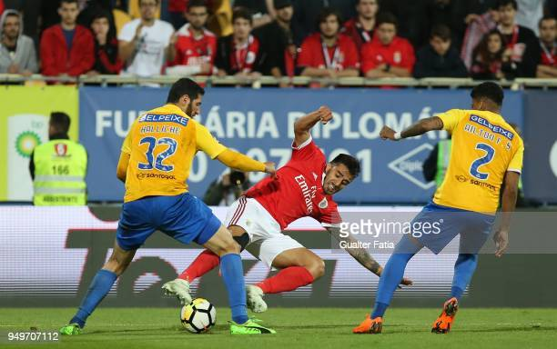 Benfica forward Eduardo Salvio from Argentina with GD Estoril Praia defender Rafik Halliche from Algeria in action during the Primeira Liga match...