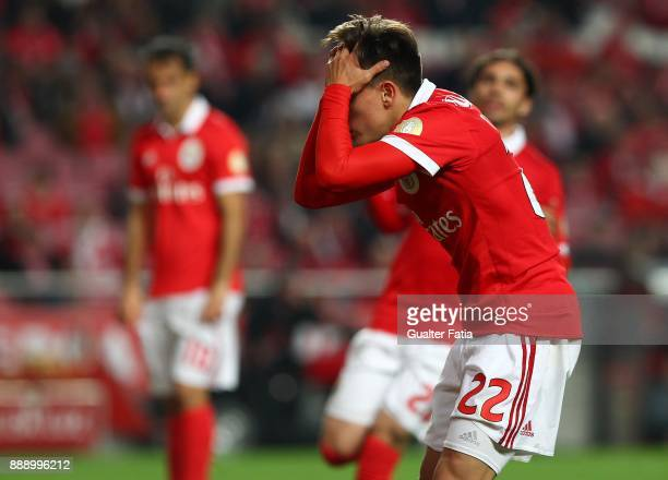 Benfica forward Franco Cervi from Argentina reaction after missing a goal opportunity during the Primeira Liga match between SL Benfica and GD...
