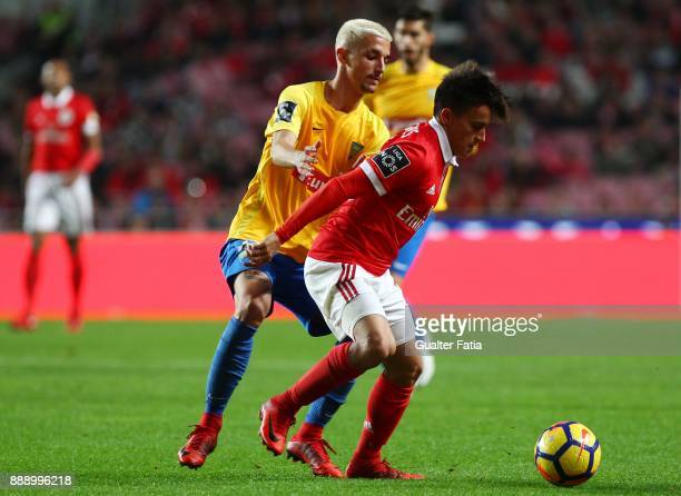 Benfica forward Franco Cervi from Argentina with GD Estoril Praia defender Fernando Fonseca from Portugal in action during the Primeira Liga match...