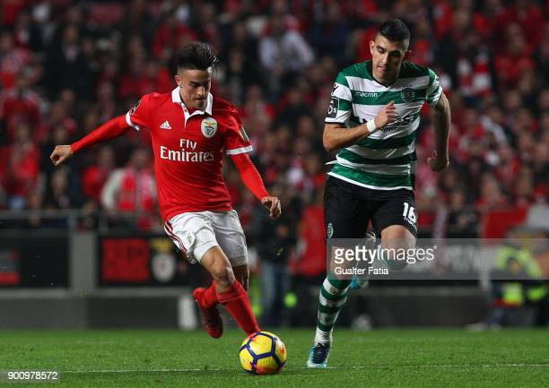Benfica forward Franco Cervi from Argentina with Sporting CP midfielder Rodrigo Battaglia from Argentina in action during the Primeira Liga match...