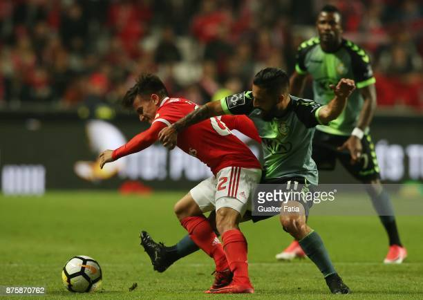 Benfica forward Franco Cervi from Argentina with Vitoria Setubal midfielder Joao Costinha from Portugal in action during the Portuguese Cup match...