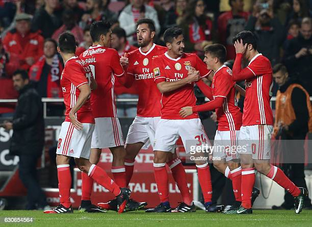 Benfica forward from Argentina Franco Cervi celebrates with teammates after scoring a goal during the Primeira Liga match between SL Benfica and FC...