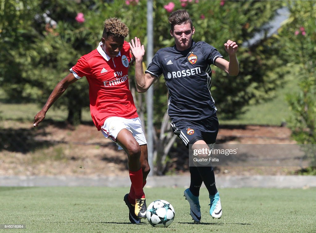 SL Benfica forward Gedson Fernandes is challenged by CSKA Moskva defender Vadim Lazarev during the UEFA Youth League match between SL Benfica and CSKA Moskva at Caixa Futebol Campus on September 12, 2017 in Seixal, Portugal.
