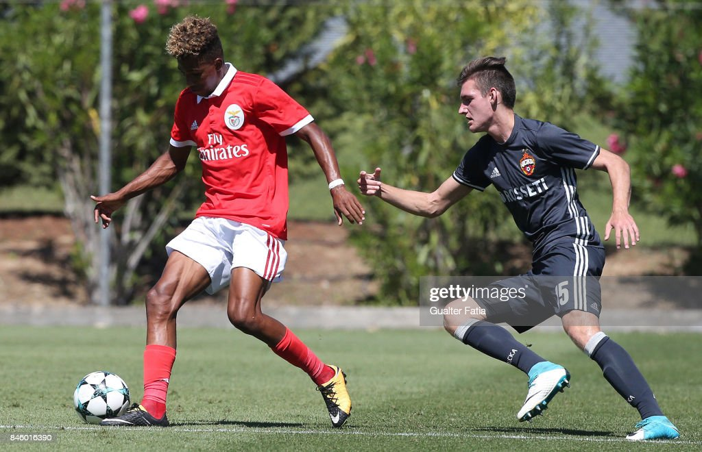 SL Benfica forward Gedson Fernandes is pursied by CSKA Moskva defender Vadim Lazarev during the UEFA Youth League match between SL Benfica and CSKA Moskva at Caixa Futebol Campus on September 12, 2017 in Seixal, Portugal.