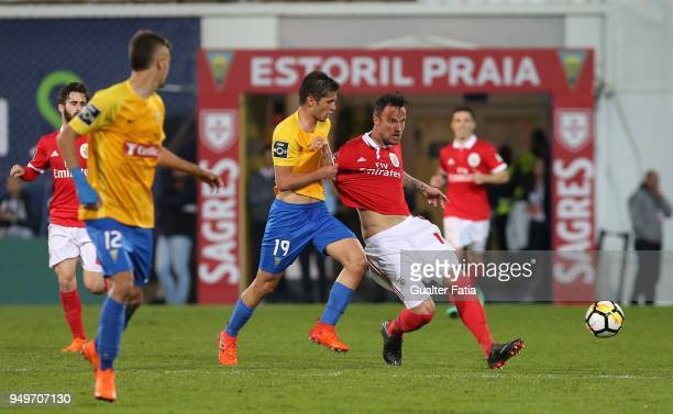 Benfica forward Haris Seferovic from Switzerland with GD Estoril Praia midfielder Duarte from Portugal in action during the Primeira Liga match...