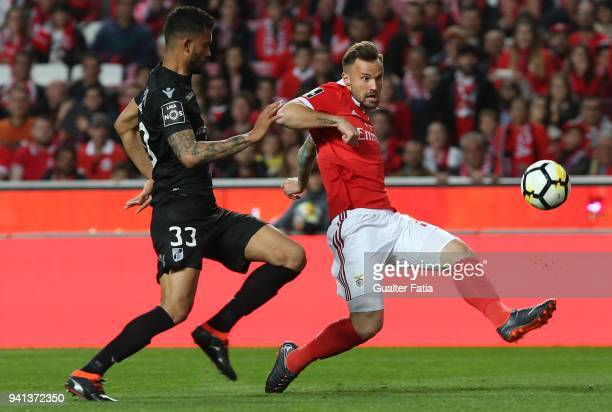 Benfica forward Haris Seferovic from Switzerland with Vitoria Guimaraes defender Jubal Junior from Brazil in action during the Primeira Liga match...