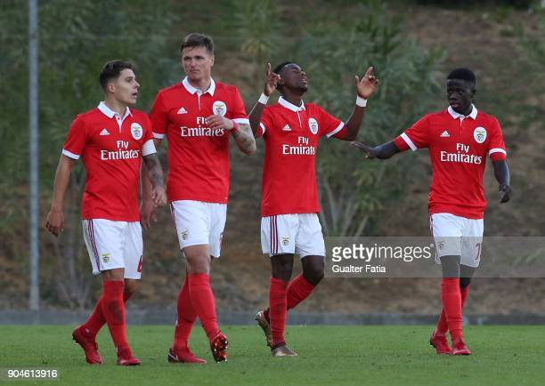 Benfica forward Heriberto Tavares from Portugal celebrates with teammates after scoring a goal during the Segunda Liga match between SL Benfica B and...