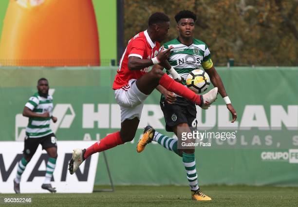 Benfica forward Heriberto Tavares from Portugal with Sporting CP B defender Ivanildo Fernandes in action during the Segunda Liga match between...