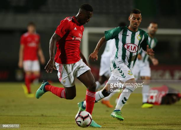 Benfica forward Heriberto Tavares from Portugal with Vitoria Setubal defender Nuno Pinto from Portugal in action during the PreSeason Friendly match...