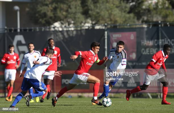 Benfica forward Joao Filipe from Portugal in action during the UEFA Youth League match between SL Benfica and FC Basel at Caixa Futebol Campus on...