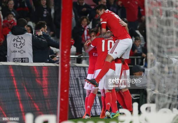 Benfica forward Jonas celebrates with teammates after scoring a goal during the Primeira Liga match between SL Benfica and CD Aves at Estadio da Luz...