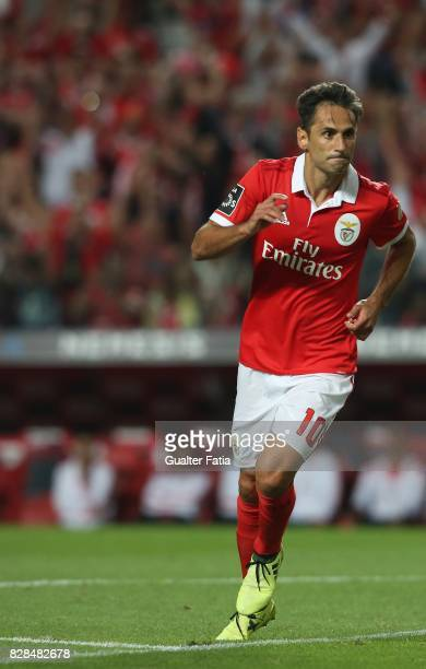 Benfica forward Jonas from Brasil celebrates after scoring a goal during the Primeira Liga match between SL Benfica and SC Braga at Estadio da Luz on...
