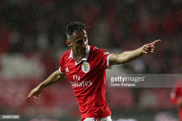 Benfica forward Jonas from Brasil celebrates scoring Benfica first goal during the Portuguese Primeira Liga match between SL Benfica and CS Maritime...