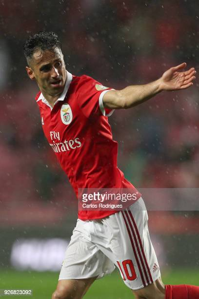 Benfica forward Jonas from Brasil celebrates scoring Benfica first goal during the Portuguese Primeira Liga match between SL Benfica and CS Maritime...