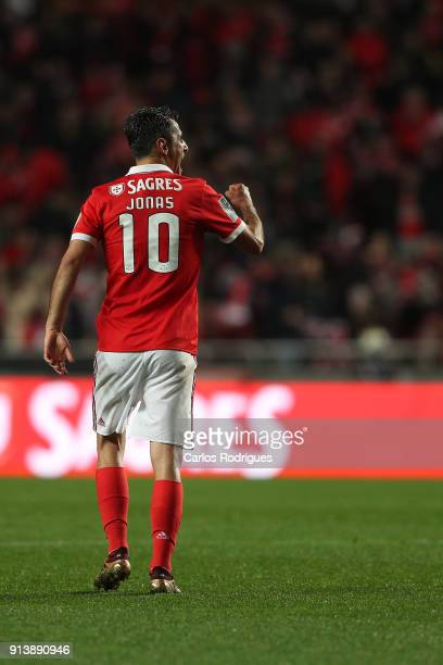 Benfica forward Jonas from Brasil celebrates scoring Benfica third goal during the match between SL Benfica and Rio Ave FC for the Portuguese...
