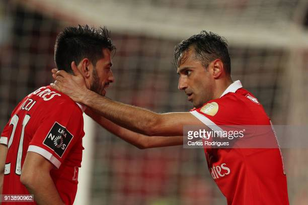 Benfica forward Jonas from Brasil celebrates scoring Benfica third goal with SL Benfica forward Pizzi from Portugal during the match between SL...
