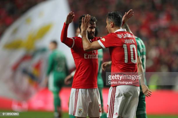 Benfica forward Jonas from Brasil celebrates scoring Benfica third goal SL Benfica forward Rafa Silva from Portugal during the match between SL...