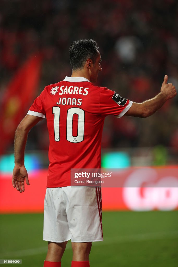 SL Benfica forward Jonas from Brasil celebrates scoring Benfica third goal during the match between SL Benfica and Rio Ave FC for the Portuguese Primeira Liga at Estadio da Luz on February 03, 2018 in Lisbon, Portugal.