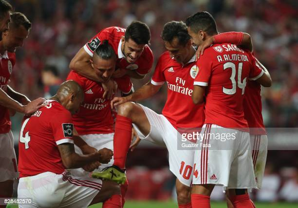 Benfica forward Jonas from Brasil celebrates with teammates after scoring a goal during the Primeira Liga match between SL Benfica and SC Braga at...