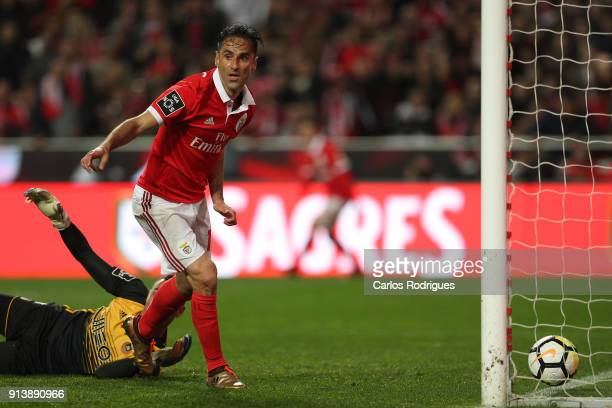 Benfica forward Jonas from Brasil scores Benfica third goal during the match between SL Benfica and Rio Ave FC for the Portuguese Primeira Liga at...