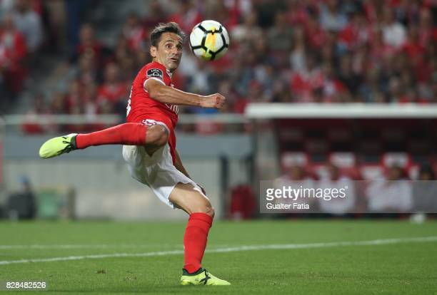 Benfica forward Jonas from Brasil scores goal during the Primeira Liga match between SL Benfica and SC Braga at Estadio da Luz on August 9 2017 in...