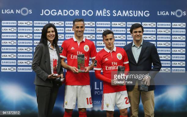 Benfica forward Jonas from Brazil and SL Benfica forward Franco Cervi from Argentina receive the awards for best player and best goal in the month of...