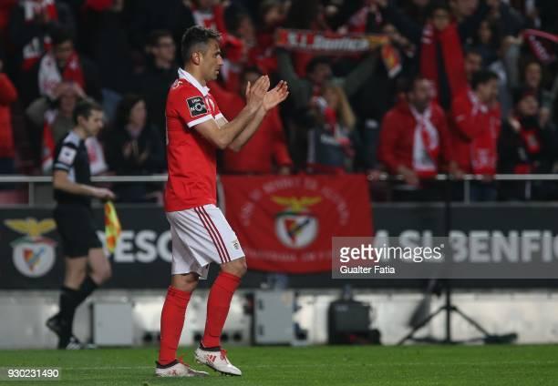 Benfica forward Jonas from Brazil celebrates after scoring a goal during the Primeira Liga match between SL Benfica and CD Aves at Estadio da Luz on...