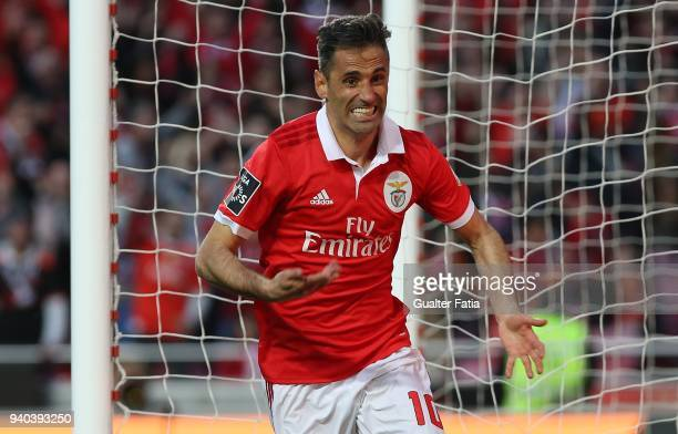 Benfica forward Jonas from Brazil celebrates after scoring a goal during the Primeira Liga match between SL Benfica and Vitoria Guimaraes at Estadio...