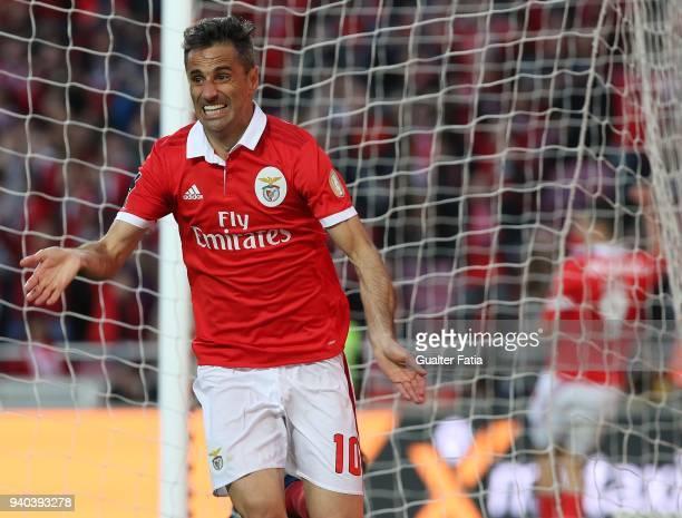 Benfica forward Jonas from Brazil celebrates after scoring a goal during the Primeira Liga match between SL Benfica and Vitoria Guimaraes at Estadio...