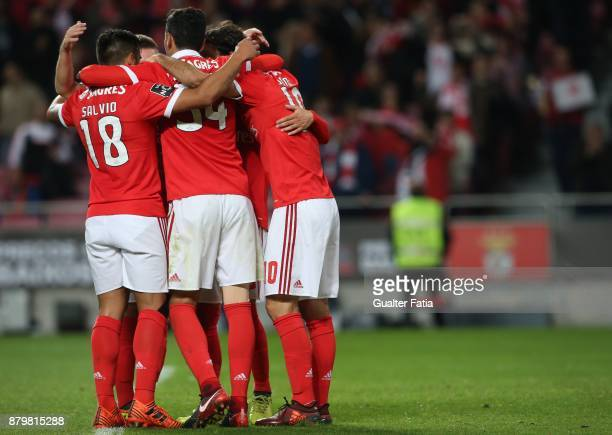 Benfica forward Jonas from Brazil celebrates with teammates after scoring a goal during the Primeira Liga match between SL Benfica and Vitoria...